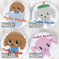 PUDEL POODLE 缶バッジ<br>【プードル/雑貨/アクセサリー/グッズ/犬/ドッグ】