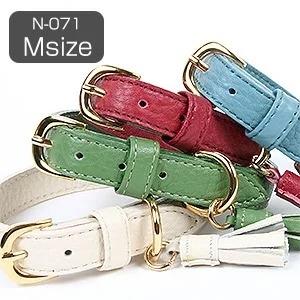 K.コレクション タッセルカラー(Mサイズ)N-071 犬 ドッグ ペット 首輪 ハーネス 革 チョーク 中型犬 シンプル 本革