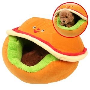 ハンバーガーカドラー【クッション】【ベッド】 犬 ドッグ マット ラウンド型 カドラー 小型犬 冬用 秋用 ドーム型